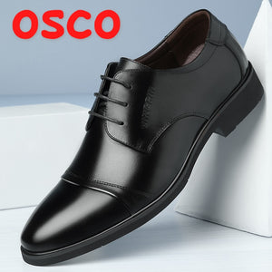 OSCO Autumn Winter New Breathable Business Dress Shoes Men's Split Leather Pointed Formal Men Derby Shoes Lace-up Office Oxfords - efair Best spare parts online shopping website