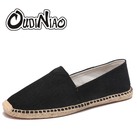 OUDINIAO Hemp Wrap Mens Shoes Spring Espadrilles Men 2019 Canvas Shoes Men Breathable Men's Loafers Slip On Solid Black White - efair Best spare parts online shopping website