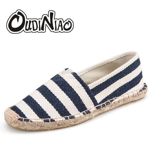 OUDINIAO Mens Espadrilles Men Patchwork Slip On Summer Shoes Men Loafers 2019 Breathable Canvas Men Shoes Fashion Jute Wrapped - efair Best spare parts online shopping website