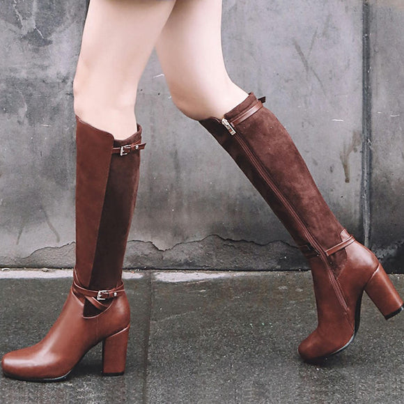 On Sale Large Sizes 33-43 Chunky High Heels Knee High Boots Woman Shoes Dropship Black Brown Shoes Woman Boots - efair.co