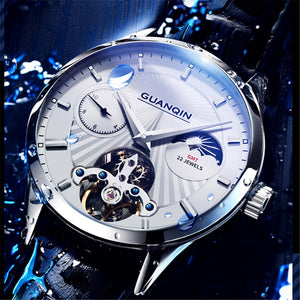 Original GUANQIN Men's Automatic Mechanical Watch 5AMT Waterproof multi-time zone Luxury automatic flywheel movement men clock - efair Best spare parts online shopping website
