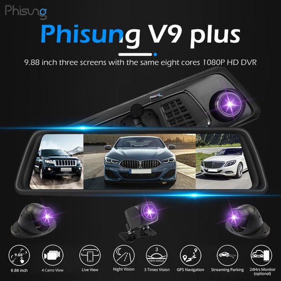 Phisung V9 Plus 4G WIFI Streaming Mirror GPS Four Lens Car DVR Rearview FHD 1080P Mirror Camera Dash Cam APP 9.88