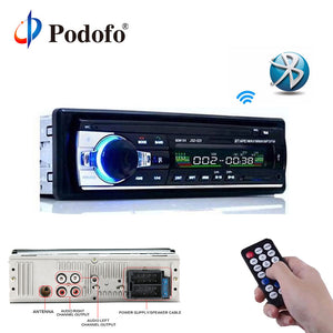 Podofo 12V Car Radios Stereo Bluetooth Remote Control Charger phone USB/SD/AUX-IN Audio MP3 Player 1 DIN In-Dash Car Audio JSD52 - efair Best spare parts online shopping website