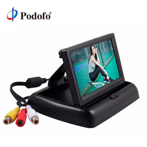 "Podofo 4.3""  HD Foldable Car Rear View Monitor Reversing Color LCD TFT Display Screen for Truck Vehicle Backup Rearview Camera - efair.co"
