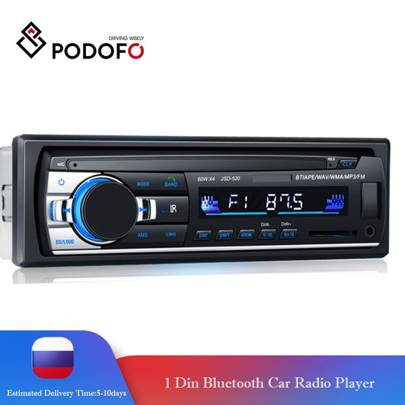 Podofo Autoradio Car Radio Stereo Bluetooth FM Aux Input Receiver SD USB JSD-520 12V In-dash 1 din Audio MP3 Multimedia Player - efair Best spare parts online shopping website