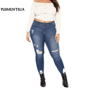 Puimentiua 2018 Skinny Pencil Pants Vintage High Waist Hole Ripped Denim Jeans Casual Button Fly Stretch Trousers Large Size 7XL - efair Best spare parts online shopping website