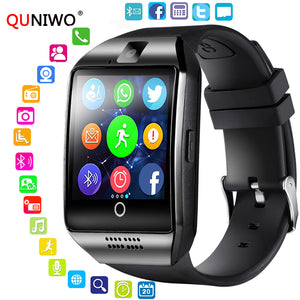 QUNIWO Bluetooth Smart Watch Men Q18 With Touch Screen Big Battery Support TF Sim Card Camera for Android Phone Passometer 2018 - efair Best spare parts online shopping website
