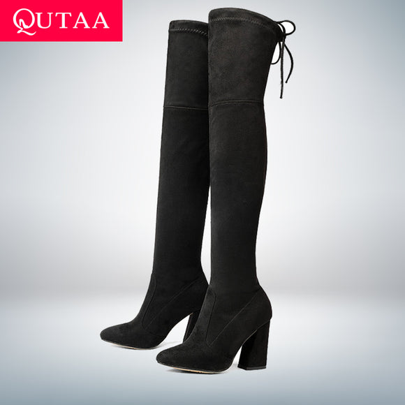 QUTAA 2020 New Flock Leather Women Over The Knee Boots Lace Up Sexy High Heels Autumn Woman Shoes Winter Women Boots Size 34-43 - efair Best spare parts online shopping website