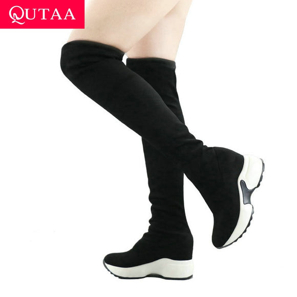QUTAA 2020 Stretch Fabrics Over The Knee Boots Height Increasing Round Toe Women Shoes Autumn Winter Casual Long Boots Size34-43 - efair.co