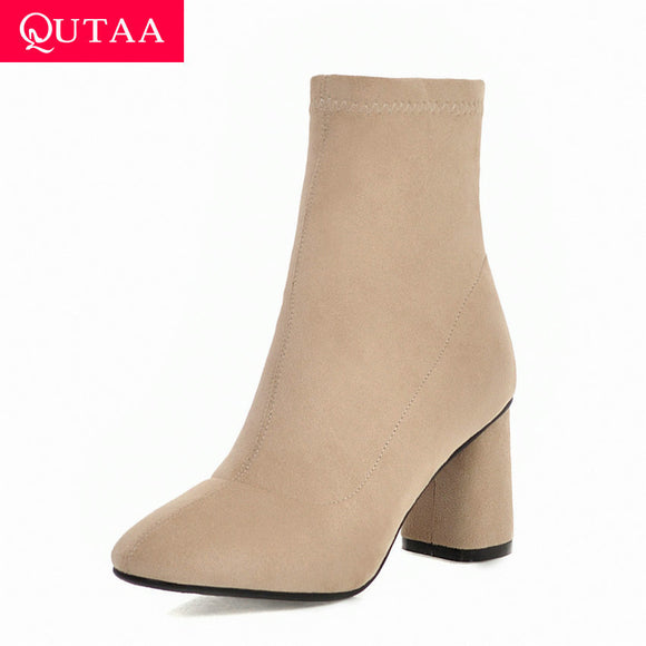 QUTAA 2020 Winter Round Toe Warm Fur Zipper Casual Women Shoes Fashion Square High Heel Concise Flock Ankle Boots Size 34-43 - efair.co