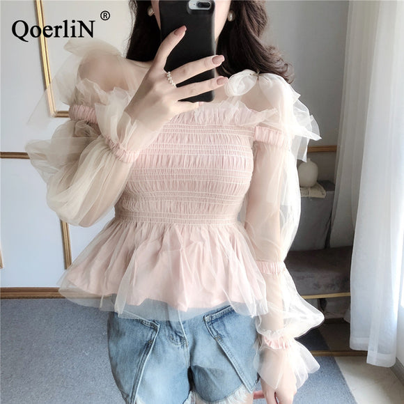 QoerliN Korean Clothing Women White Blouse Fashion Sexy Off Shoulder Bowtie Ruffles Tops Pink Sweet Mesh Shirts Female Summer - efair Best spare parts online shopping website