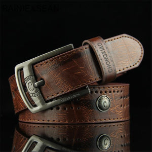 RAINIE SEAN Men Leather Belt Punk Rivet Vintage Pin Buckle Casual Male Belt For Trousers Black White Brown Belt For Men Jeans - efair.co