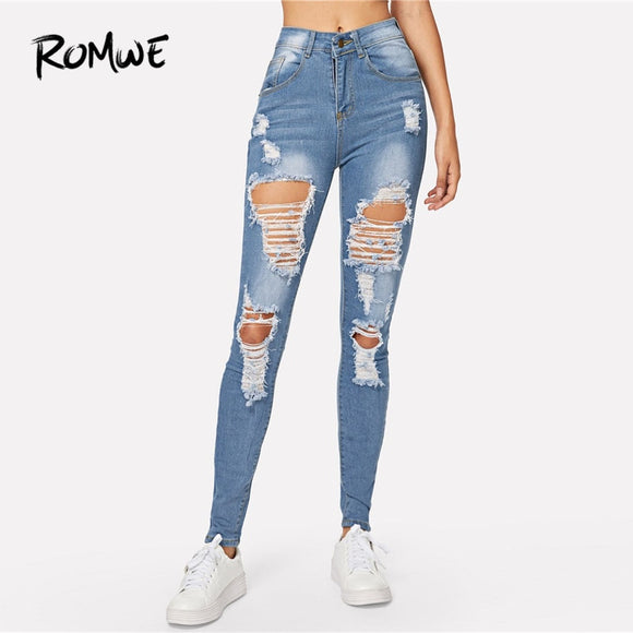 ROMWE Blue Ripped Bleach Wash Skinny Jeans Back Hole Spring Women Casual Button Fly Mid Waist Denim Pants Fashion Long Trousers - efair Best spare parts online shopping website