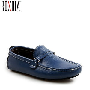 ROXDIA Brand Genuine Leather Men Loafers Casual Shoes Men's Driving Flats Spring Autumn Plus size 39-48 RXM037 - efair Best spare parts online shopping website