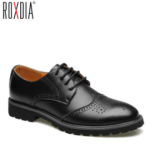 ROXDIA Genuine leather men formal shoes Brogue for wedding party Male Flat men's dress shoes RXM060 size 39-44 - efair.co