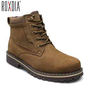 ROXDIA plus size 39-50 genuine leather men boots man shoes with fur male winter boots warm snow boots waterproof work RXM428 - efair Best spare parts online shopping website