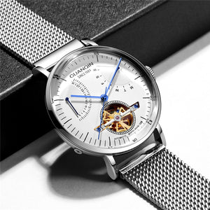 Reloj Hombre 2019 GUANQIN Automatic Mechanical Watch Men Luxury Flywheel Stainless Steel Waterproof Watches Mekanik Kol Saati - efair.co