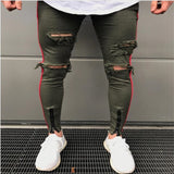 Ripped Jeans for Men Casual Streetwear Pants High Street Tide Models Men's Motorcycle Jeans Hole Zipper Mens Jeans Pants Brand - efair Best spare parts online shopping website