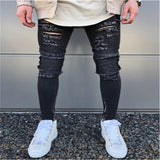 Ripped Jeans for Men Casual Streetwear Pants High Street Tide Models Men's Motorcycle Jeans Hole Zipper Mens Jeans Pants Brand - efair.co
