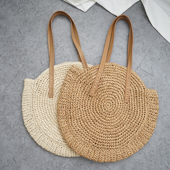 Round Straw Beach Bag Vintage Handmade Woven Shoulder Bag Raffia circle Rattan bags Bohemian Summer Vacation Casual Bags - efair Best spare parts online shopping website