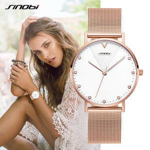 SINOBI Fashion Women's Diamond Wrist Watches Gold Watchband Top Luxury Brand Girl Crystal Quartz Clock Ladies watch Dropshipping - efair Best spare parts online shopping website