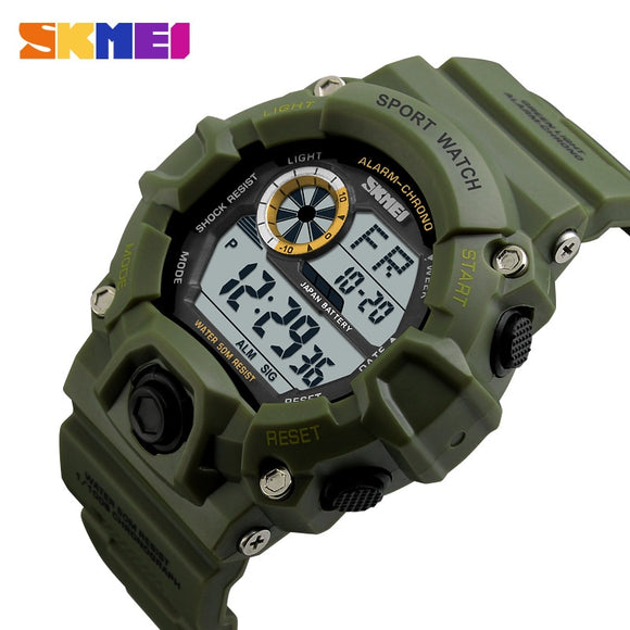 SKMEI Outdoor Sport Watch Men Alarm Clock 5Bar Waterproof Military Watches LED Display Shock Digital Watch reloj hombre 1019 - efair Best spare parts online shopping website
