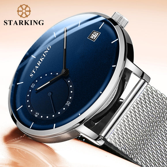 MartLion,STARKING Dress Men Watch Steel Mesh Band Quartz Analog Wristwatch 3ATM Waterproof Curved Glass Blue Male Clock Relogio Masculino