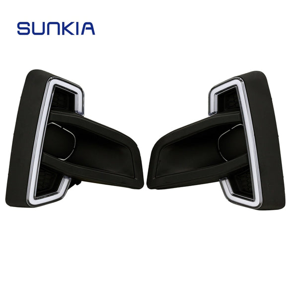 SUNKIA High Bright Car LED Daytime Running Light DRL for Toyota Hliux Vigo 2018 Newest Auto Parts with Turning signal