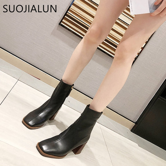 SUOJIALUN Autumn Winter Women Boots Square Toe Solid European Ladies Shoes Martin Boots Elegant Solid High Heel Ankle Boots - efair.co