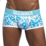 Seeinner Men Brand Breathable Printed Cotton Male Panties Sexy Cueca Gay Pants U convex pouch Underwear Boxer shorts  Underpants - efair Best spare parts online shopping website