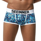 Seeinner Men Brand Breathable Printed Underpants Cotton Male Panties U convex pouch Sexy Cueca Gay Pants Underwear Boxer shorts - efair.co