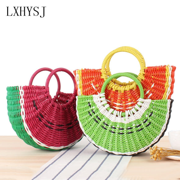 Semicircular Women's Handbag Hand made Summer Lady Portable Beach Bag Plastic tube Woven Bag Fashion Travel Shopping Bags Tote - efair Best spare parts online shopping website