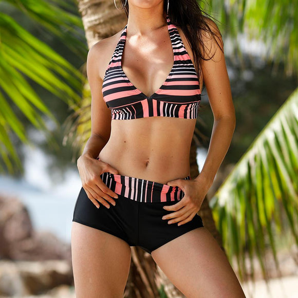 Sexy Bikini Set Brazilian Swimwear Women Shorts Bottom Beach Swimsuit Halter Strap Lace Up Bathing Suit Bikinis Mujer Plus Szie - efair.co