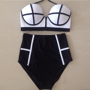 Sexy High waist Bikini Set Swimsuits Women Push Up Bikinis HighWaist Zipper Bathing Suits Vintage Swimwear Retro Biquinis - efair.co
