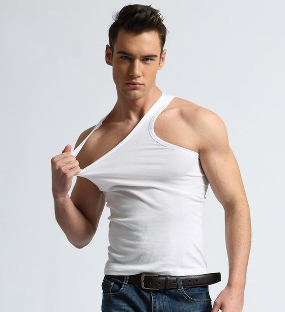Sexy Mens Undershirts Solid Color Cotton Underwear Casual Top Vest Shirt Slim Male Undershirt Bottoming Shirt Men Summer Wear - efair Best spare parts online shopping website