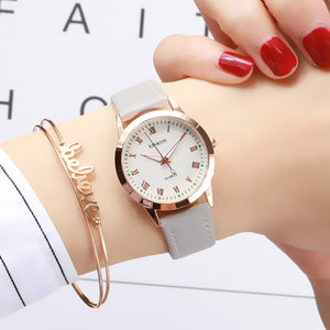 Simple Gold Women Leather Watches Elegant Small Bracelet Female Clock 2019 Fashion Brand Roman Dial Retro Ladies Wristwatches - efair Best spare parts online shopping website