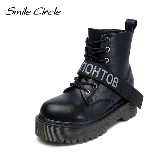 Smile Circle Size 36-42 Ankle boots Leather Chunky Boots Women Shoes Wedges Platform Boots Autumn Winter Fur warm Ladies Shoes - efair.co