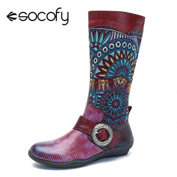 Socofy Retro Bohemian Mid-calf Boots Women Shoes Genuine Leather Buckle Decor Motorcycle Women Boots Snake Pattern Shoes Woman - efair.co