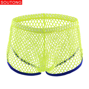 Soutong Sexy Men Underwear Mesh Transparent Boxer Gay Breathable Boxers Shorts Comfy Underwear ropa interior hombre ST63 - efair.co