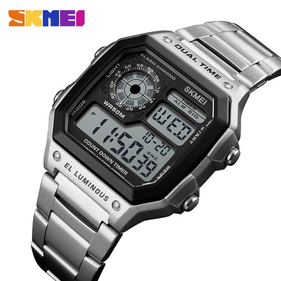 Sports Watches Men Count Down Waterproof Watch Stainless Steel Band Fashion Creative Digital Wristwatches Clock for Ronan Matos - efair Best spare parts online shopping website