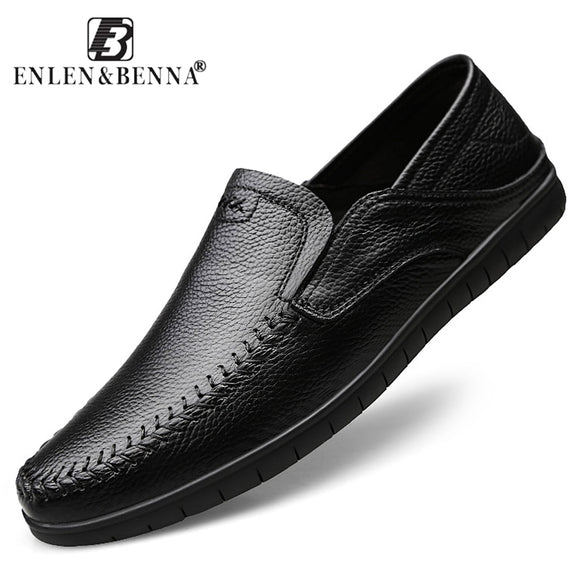 Summer Genuine Leather Casual Shoes Men Comfortable Loafers Moccasins Breathable Slip on Luxury Brand Mens  Flats Driving Shoes - efair.co