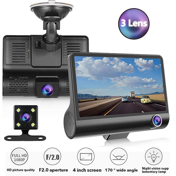 TOSPRA Full HD 1080P Car DVR Cameras 3 Lens 4.0 Inch Wide Angle Car Dash Camera Dual Lens With Rearview Cam Auto Registrator