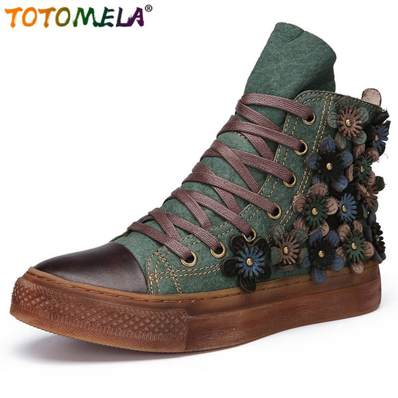 TOTOMELA 2019 genuine leather boots women retro flower lace up autumn winter boots ladies platform ankle boots ladies shoes - efair.co