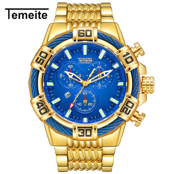 Temeite Mens Watches Luxury Golden Quartz Watch Men Military Waterproof Sport Wristwatches Male Clock Relojes Para Hombre Saat - efair Best spare parts online shopping website