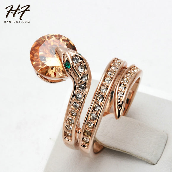 Top Quality R149 Snake Show Bead Ring Rose Gold Color Austrian Orange Crystals Full Sizes Rings for Women HotSale - efair Best spare parts online shopping website
