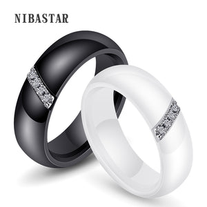 Unique Rings Women 6mm Black White Ceramic Ring For Women India Stone Crystal Comfort Wedding Rings Engagement Brand Jewelry - efair.co