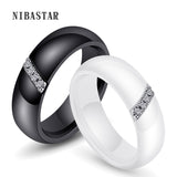 Unique Rings Women 6mm Black White Ceramic Ring For Women India Stone Crystal Comfort Wedding Rings Engagement Brand Jewelry - efair Best spare parts online shopping website