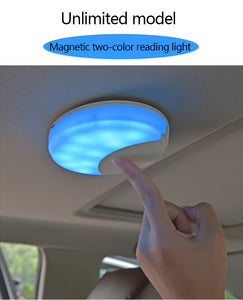 Universal Car Reading Light Led Magnet Ceiling Light USB Charging  Lamp White and blue    two-color Car Styling ceiling lamp - efair.co