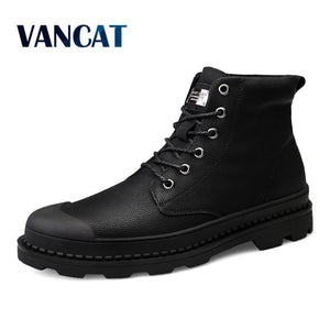 Vancat High Quality Genuine Leather Men Boots Winter Waterproof Ankle Boots Riding Boots Outdoor Working Snow Boots Men Shoes - efair.co
