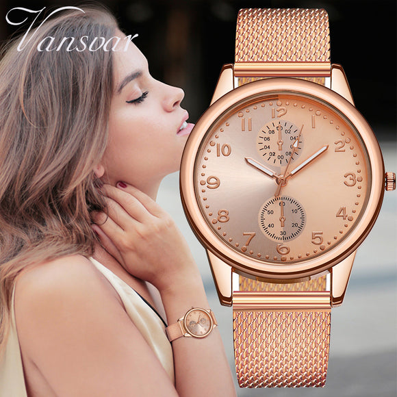 Vansvar New Fashion Women Silver Gold Mesh Watch Unique Simple Watches Casual Quartz Wristwatches Clock Hot Sale 533 - efair.co